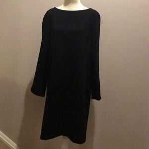 Zara basic black shift dress with white interior